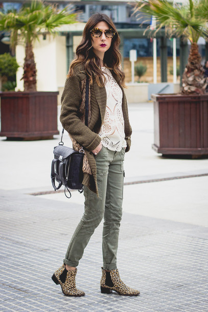 shoes and basics blogger khaki pants knitted cardigan white top satchel bag chelsea boots leopard print
