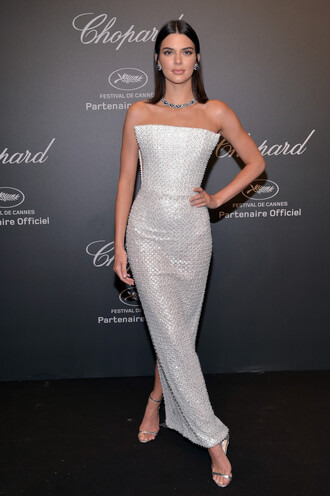 dress gown cannes kendall jenner kardashians prom dress jewels necklace wedding dress strapless shoes
