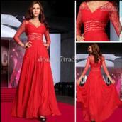 dress,red dress,red prom dress,lace dress,long sleeve dress,long,red,prom,long sleeves,quarter length,dressy