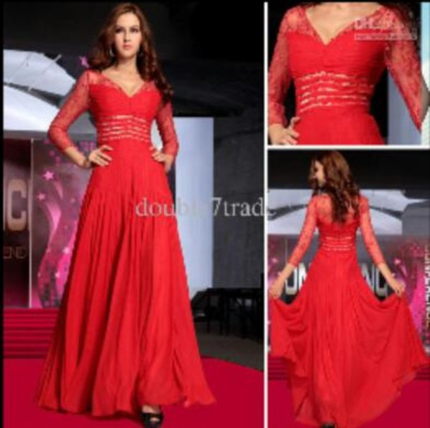 aa9d8aa2c34c dress red dress red prom dress lace dress long sleeve dress long red prom long  sleeves