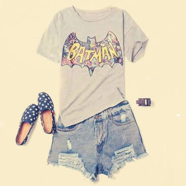 t-shirt batman quote on it floral summer t-shiry stars shoes shorts