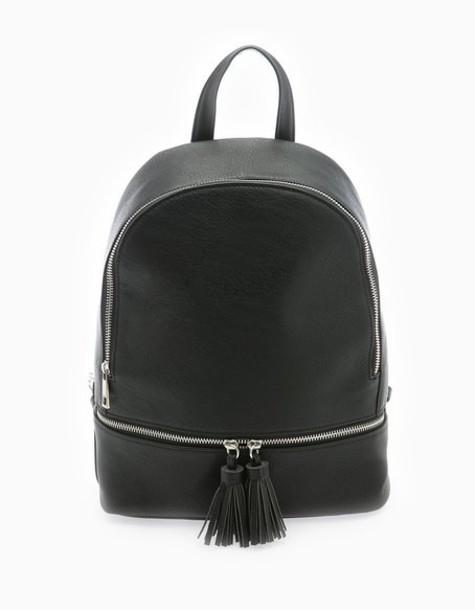 Stradivarius tassel backpack black bag