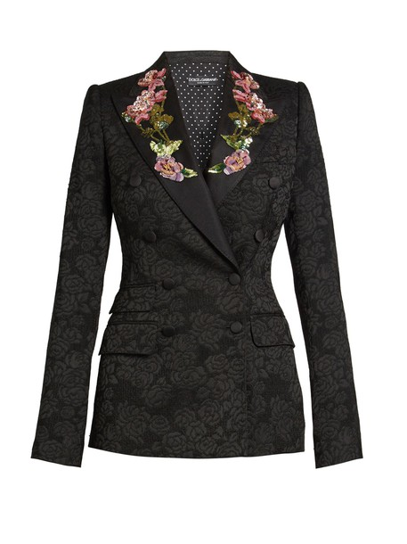 Dolce & Gabbana jacket embroidered jacquard embellished floral black