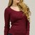 Ribbed Roundneck Long Sleeve Fitted Top - Burgundy