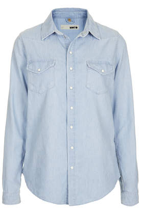 MOTO Fitted Chambray Shirt - Topshop USA