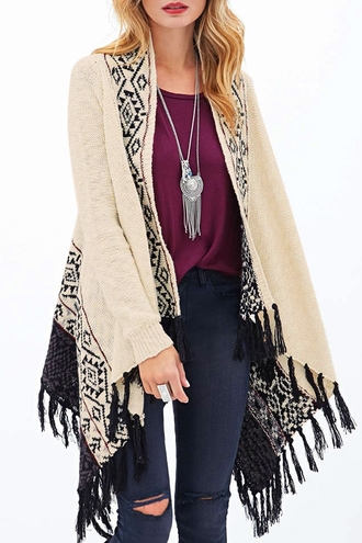 cardigan knitwear knitted cardigan fall outfits fall cardigan aztec geometric print zaful style streetwear fringes
