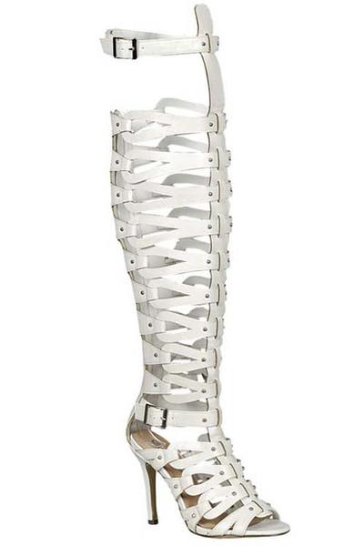 Xena Gladiator Heels - White (PRE-ORDER)   Klassiq