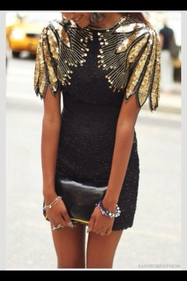 black dress retro short prom dress gold sequins gold retro dress with sleves,