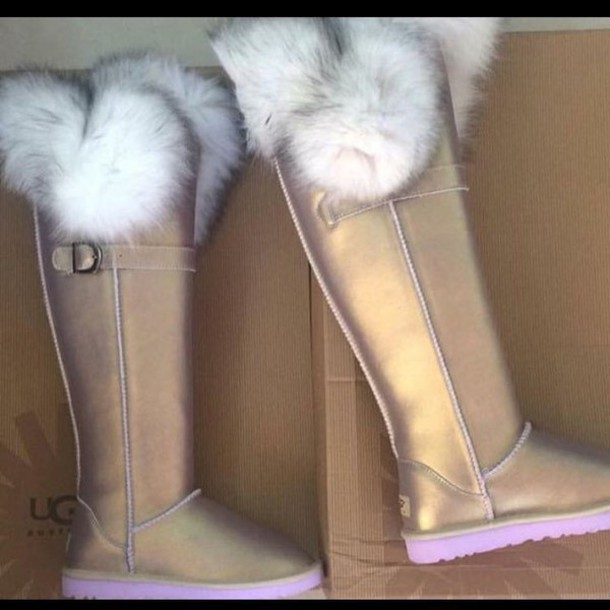 shoes, cute, fur, ugg boots, pink fur, gold, gold uggs, gold fur, pearl uggs, ugg boots, furry uggs, pink ugg, metallic uggs - Wheretoget