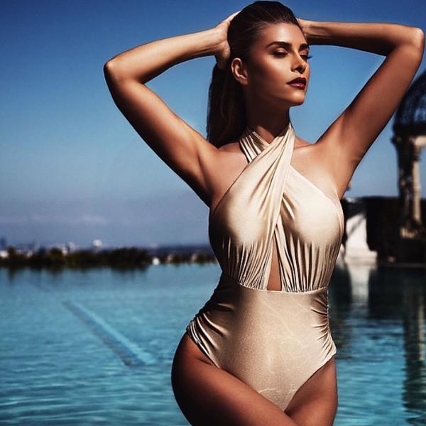 swimwear shiva safai one piece swimsuit gold swimsuit red lipstick celebrity