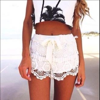 shorts white lace white lace shorts summer shorts lace shorts beach shorts