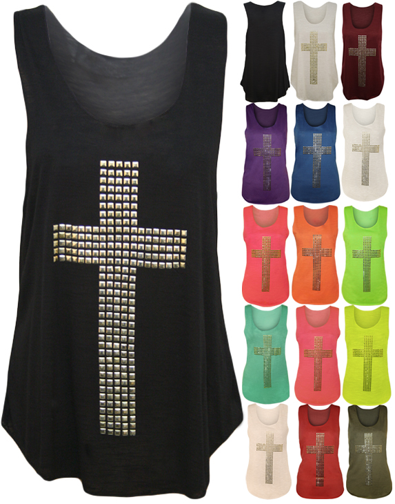 New Womens Cross Stud Racer Sleeveless Ladies Stretch Muscle Back Vest Top 8- 14 | Amazing Shoes UK