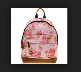 bag rucksac mi pac floral girl back to school fits a4 pretty pink flowers rose good quality zip