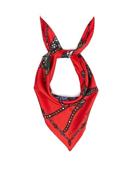 Alexander Mcqueen scarf silk scarf print silk red