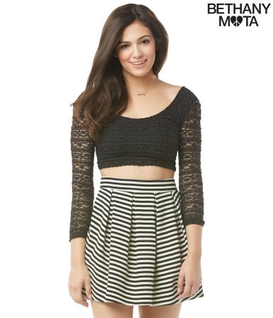 Striped Ponte Skater Skirt -