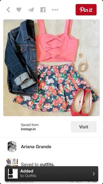 top bow back shirt floral floral skirt crop tops skater skirt skirt circle skirt flats shoes