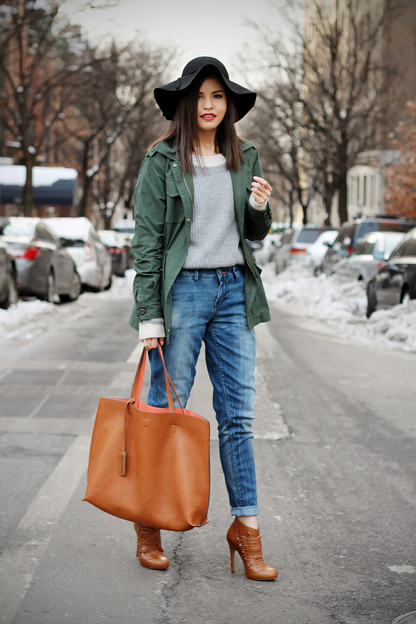 fake leather coat sweater jeans shoes bag