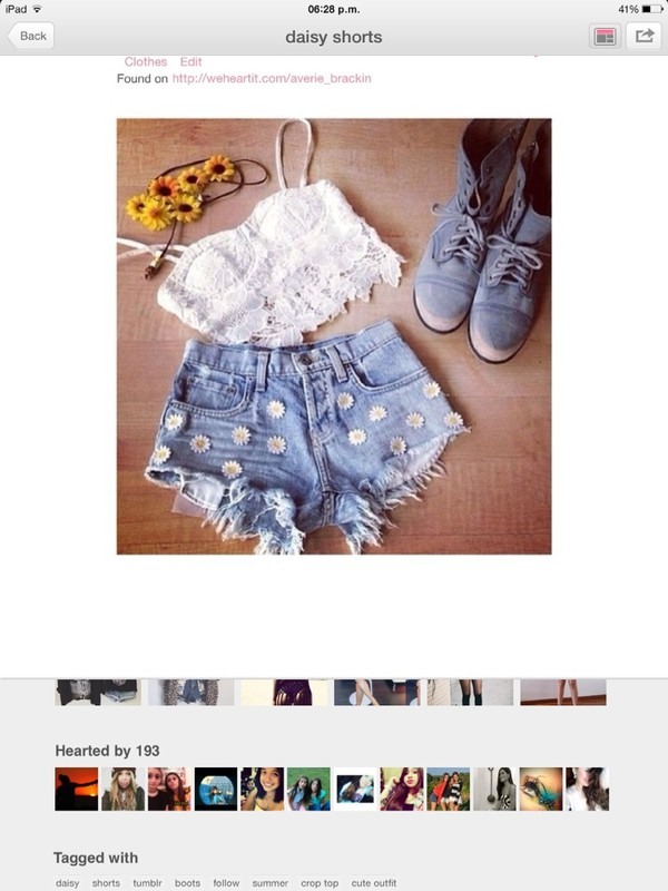 shorts daisy's flowers denim