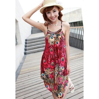 dress halter dress peacock feathers boho dress sexy dress cute dress summer dress ethnic print top bottoms skirt spaghetti strap beautiful fashion girly outfit sammydress floral vest camisole clothes