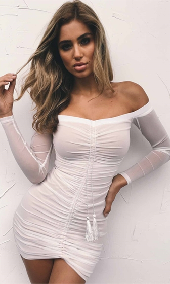 Wild Heart White Sheer Mesh Long Sleeve Off The Shoulder Ruched Bodycon Mini Dress