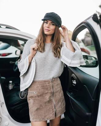 sweater hat fisherman cap tumblr grey sweater bell sleeve sweater skirt mini skirt zip zipped skirt suede skirt