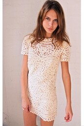 dress,cream,lace dress,white,white dress,white lace dress,lace,hippie,indie,boho chic,cute dress,preppy,homecoming,summer,tumblr,short,lace white shift dress,shift,cute,high neck
