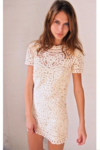 dress cream lace dress white white dress white lace dress lace hippie indie boho chic cute dress preppy homecoming summer tumblr short lace white shift dress shift cute high neck