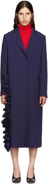 MSGM coat ruffle navy