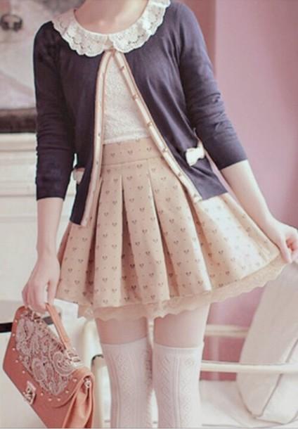cardigan bag blouse skirt