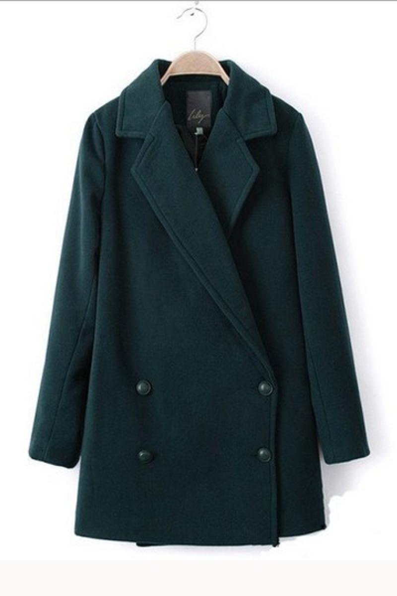 Autumn & Winter Long Sections Pure Color Woolen Overcoat,Cheap in Wendybox.com