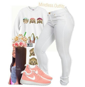 sweater white brown pink coral purple monkey emojos cute ??? shoes pants white pants white nails neon pink shoes flower crown starbucks coffee straight hair long hair roshe runs jeans