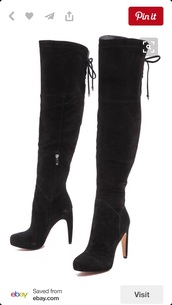 shoes,boots,high heels,high heels boots,above the knee,black