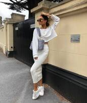 skirt,midi skirt,white sneakers,knit,cropped hoodie,fluffy,sunglasses,chain necklace