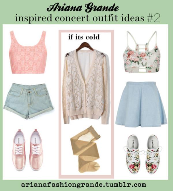 shorts girly concert ariana grande shirt tank top skirt shoes sweater underwear jean skirt denim denim skirt
