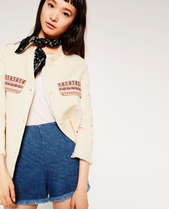 jacket embroidered cream pockets nude jacket