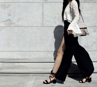 florencia r flo loves clothes blogger bag pants top shoes chloe faye bag grey bag slit pants black pants sandals mid heel sandals black sandals bell sleeves bell sleeve top white lace top lace top chloe bag chloe