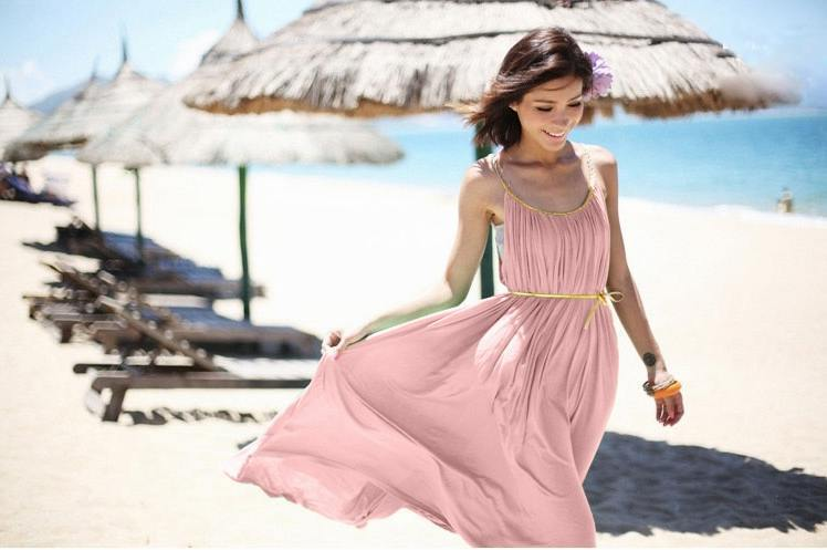 hot sale fashion bohemian style neon pink color women summer beach holiday maxi cute dress free size beach skirt dress-in Cover-Ups from Apparel & Accessories on Aliexpress.com