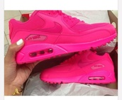 shoes,nike air max 90,pink sneakers,hot pink. nike airmax 90 hyperfuse