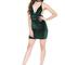 Green velvet bodycon dress