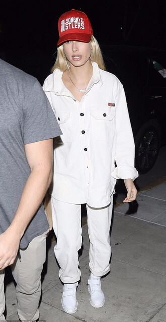 pants cap shirt hailey baldwin model off-duty jacket