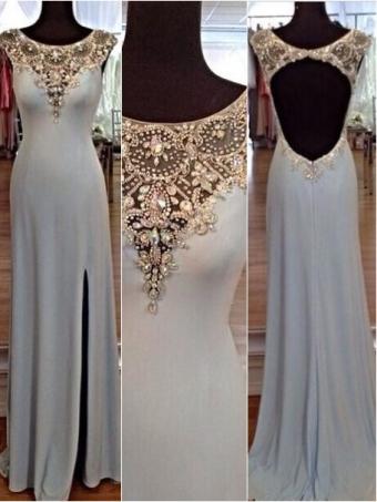 Charming sequins rhinestones round neck long prom dresses, evening dresses [b00222]