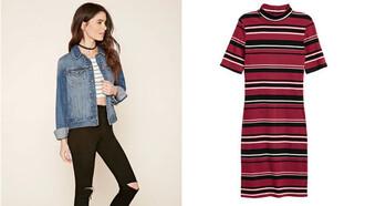 jacket denim jeans denim jacket blue jacket blue stripes striped dress high neck turtleneck dress short sleeve red dress