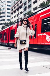 viva luxury,blogger,shoes,sweater,sunglasses,jewels,sweater dress,oversized turtleneck sweater,crossbody bag,thigh high boots,mini knit dress,turtleneck dress,turtleneck,bag,boots,black boots,over the knee boots,beige knit dress,boxed bag