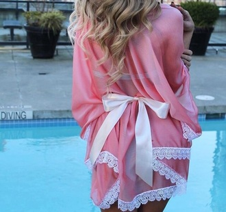 pajamas pink bow girly cover up beach romper lace dress victoria's secret