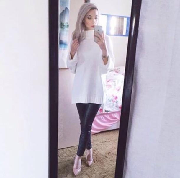 sweater white knitwear turtle-neck long