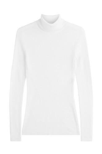 pullover turtleneck silk wool white sweater