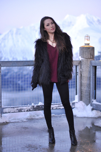 hapa time blogger fluffy black jacket winter jacket burgundy sweater coat sweater jewels shoes