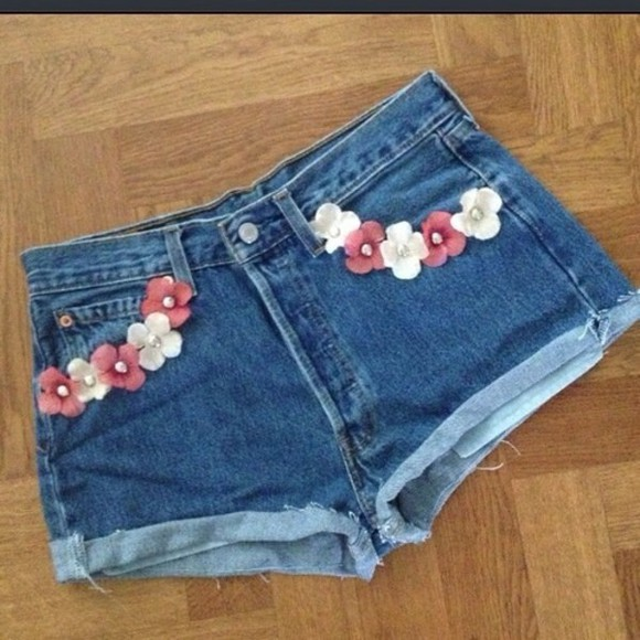 shorts levis high waisted short high flowers