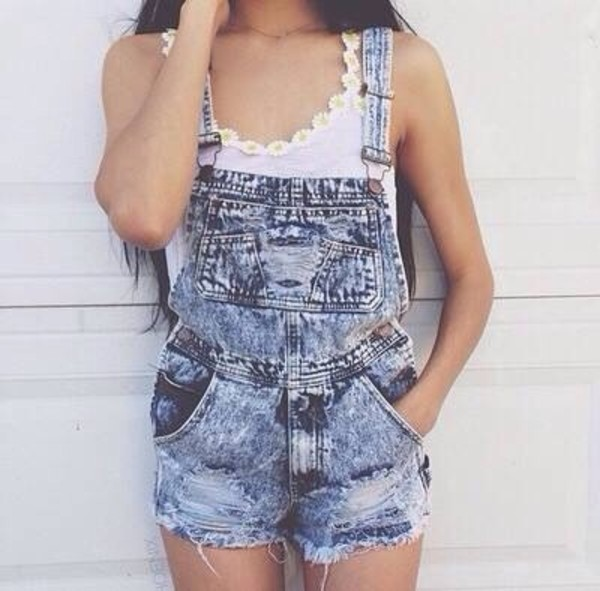shorts denim overalls jumper cute tank top wheretoget