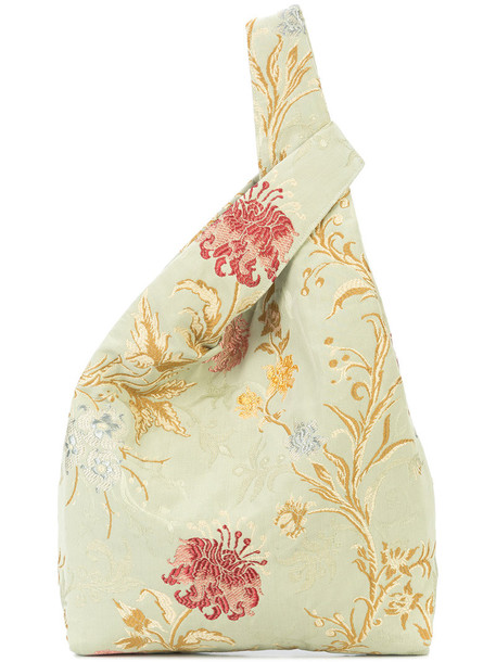 Hayward women jacquard suede silk green bag